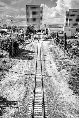 Down The Tracks - Downtown Miami - Black And White Art Print by Ian Monk