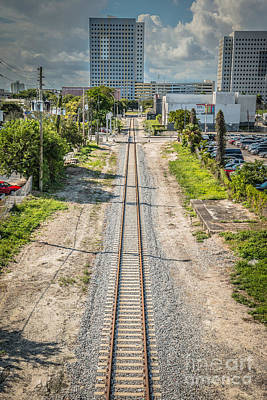 Color Block Photograph - Down The Tracks - Downtown Miami by Ian Monk