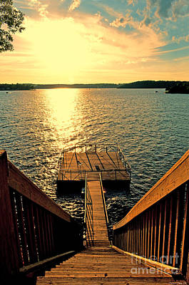 Down To The Fishing Dock - Lake Of The Ozarks Mo Art Print by Debbie Portwood