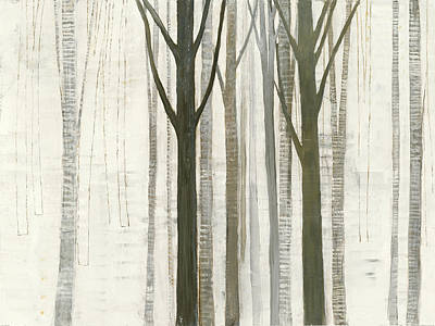 Contemporary Forest Painting - Down To The Woods On White by Avery Tillmon