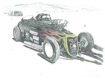 Salt Flats Drawing - Down Under Roadster by Stacey Becker