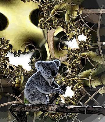 Koala Digital Art - Down Under by Ron Bissett