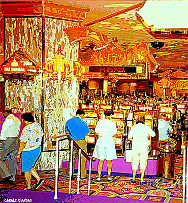 Painting - Downcast Casino Couple Exit Stage Left For The All You Can Eat Losers Brunch At Taj Mahal by Carole Spandau