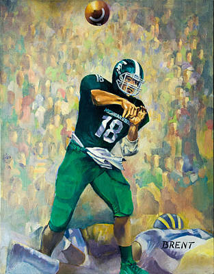 Michigan State Painting - Downfield by Robert Brent