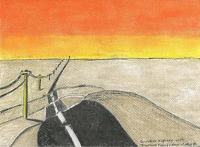 Telephone Poles Drawing - Downhill Highway by Robert Wittig