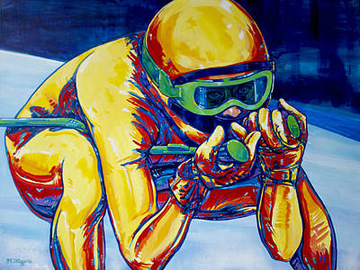 Winter Sports Painting - Downhill Racer by Derrick Higgins