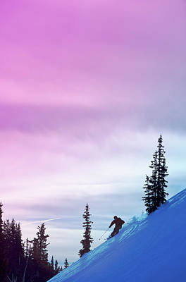 Ski Resort Photograph - Downhill Skier At Alta Ski Resort by Felix Rioux
