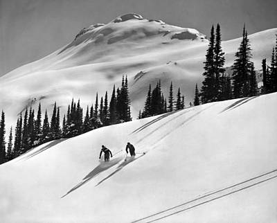 Downhill Skiing In Banff Art Print by Underwood Archives