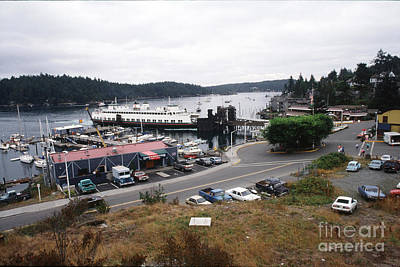 Photograph - Downriggers Restaurant Ferry Landing Friday Harbor San Juan Island 1989 by California Views Mr Pat Hathaway Archives