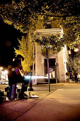 Photograph - Downtown Asheville Busker At Flat Iron Building by Gray  Artus