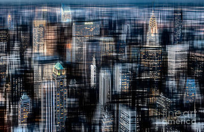 Downtown At Night Art Print by Hannes Cmarits