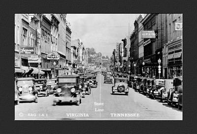 Virginia Postcards Photograph - Downtown Bristol Va Tn 1931 by Denise Beverly