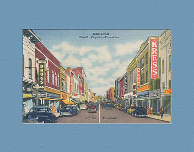 Downtown Bristol Va Tn 1940's Art Print by Denise Beverly