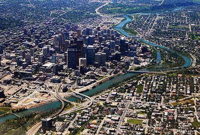 Photograph - Downtown Calgary Aerial View by Eti Reid