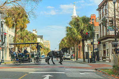 Print featuring the photograph Downtown Charleston Stroll by Patricia Schaefer