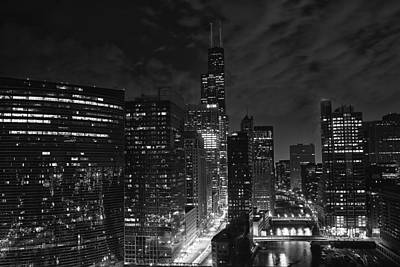 Downtown Chicago At Night Art Print by Ricky L Jones
