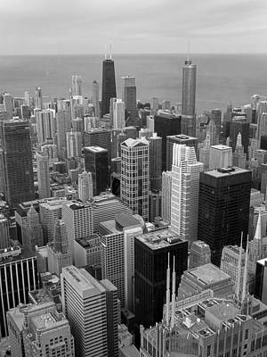 Photograph - Downtown Chicago View From Willis Tower In Black And White by Ginger Wakem
