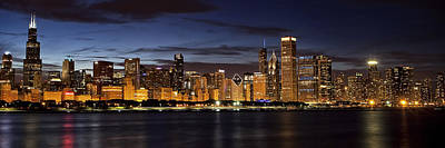 Illuminated Photograph - Downtown Chicago Panorama by Andrew Soundarajan