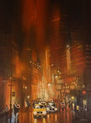 Chicago At Night Painting - Downtown Chicago by Tom Shropshire