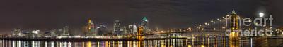 Roebling Bridge Photograph - Downtown Cincinnati Panorama by Twenty Two North Photography