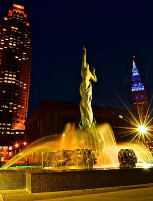 Downtown Cleveland Photograph - Downtown Cleveland by Frozen in Time Fine Art Photography