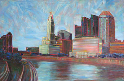Downtown Columbus Art Print by Robie Benve