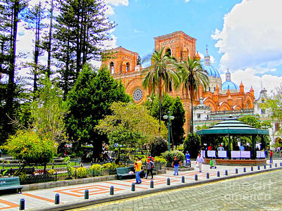 Downtown Cuenca Ecuador Print by Al Bourassa