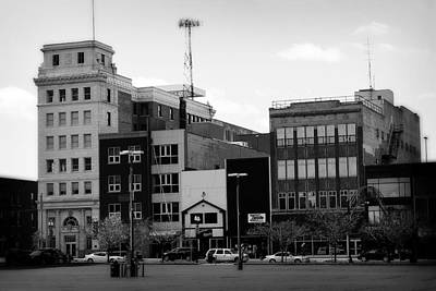 Photograph - Downtown Flint Michigan Black And White by Scott Hovind