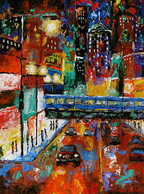 Chicago At Night Painting - Downtown Friday Night by J Loren Reedy