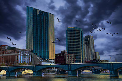 Flying Gull Photograph - Downtown Grand Rapids Michigan By The Grand River With Gulls by Randall Nyhof