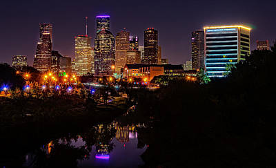 Nighttime Photograph - Downtown Houston by Andy Crawford