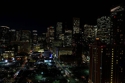 Downtown Houston At Night Art Print by Judy Vincent