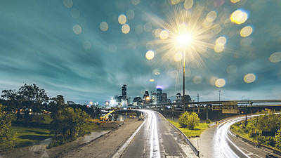 Downtown Houston Flooding At Night Art Print by Onest Mistic