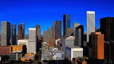 Photograph - Downtown Houston Painted by Judy Vincent
