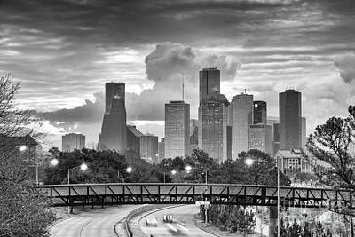 Downtown Houston Skyline In Black And White - Texas Art Print