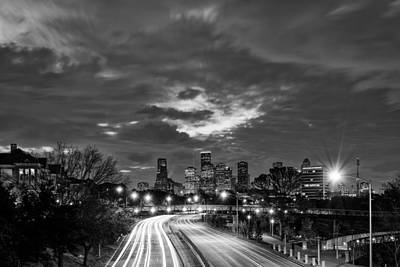 Photograph - Downtown Houston Skyline In Black And White - Texas by Silvio Ligutti
