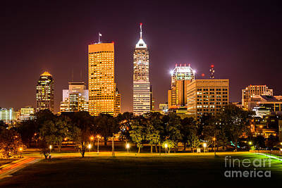 Indiana Photograph - Downtown Indianapolis Skyline At Night Picture by Paul Velgos