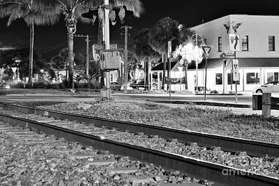 Photograph - Downtown Jensen R R Tracks B W by Wibada Photo