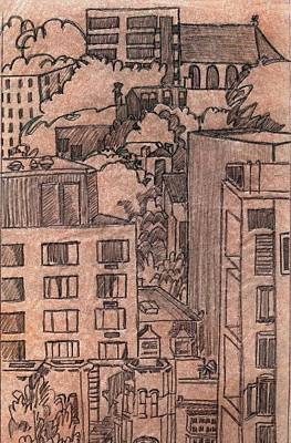 Wall Art - Drawing - Downtown Pdx Circa 1992 by Kerrie B Wrye