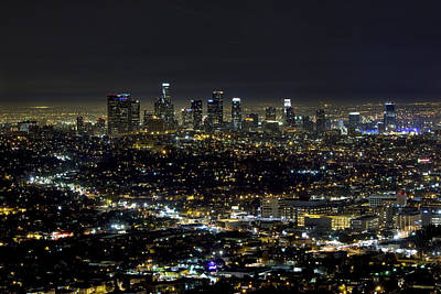 Down Town Los Angeles Photograph - Downtown La At Night by David Persson
