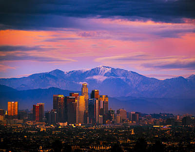 Downtown Los Angeles After Sunset Art Print