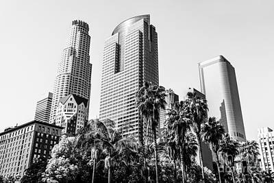Downtown Los Angeles Buildings In Black And White Art Print by Paul Velgos