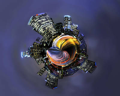Photograph - Downtown Los Angeles Little Planet by Jerome Obille