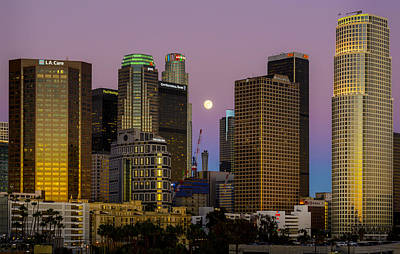 Photograph - Downtown Los Angeles Moonrise by Joe Doherty