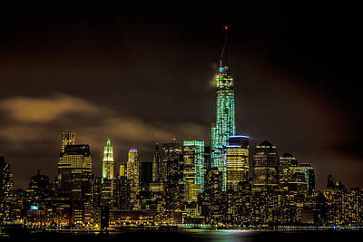 Photograph - Downtown Manhattan At Night by Chris Lord