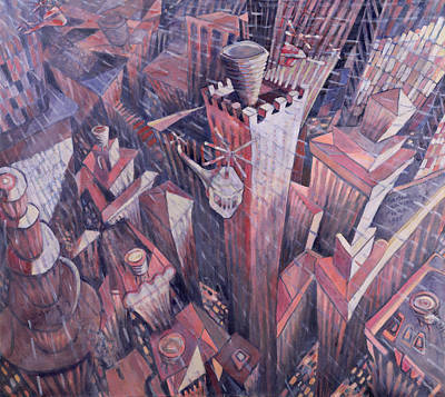 Birdseye Photograph - Downtown Manhattan Hailstorm, 1995 Oil On Canvas by Charlotte Johnson Wahl