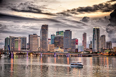 Miami Skyline Photograph - Downtown Miami Skyline In Hdr by Rene Triay Photography