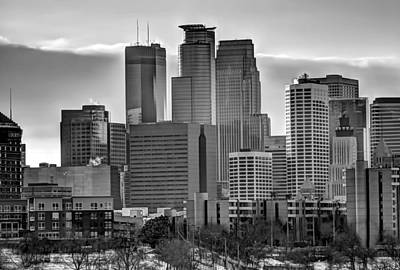 Downtown Minneapolis In Black And White Art Print by Amanda Stadther