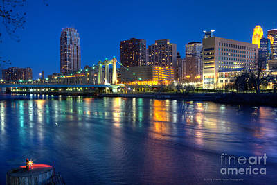 Downtown Minneapolis Skyline Hennepin Avenue Bridge Art Print