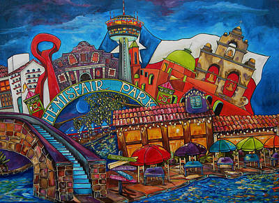 Painting - Downtown Montage San Antonio by Patti Schermerhorn